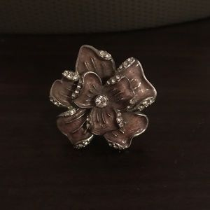 Purple and Rhinestone Big Flower Ring